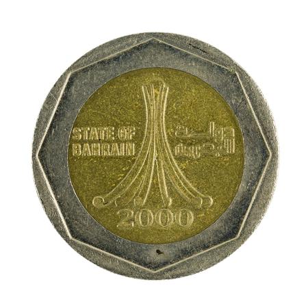 bahrain money: 500 bahraini fils coin (2000) isolated on white background