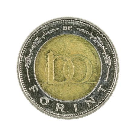 100 Ungarische Forint Münze 1998 Isoliert Auf Weißem Hintergrund