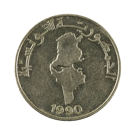 5 0: 0,5 tunisian dinar coin (1990) isolated on white background Stock Photo