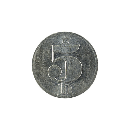 five czech heller coin (1979) isolated on white background