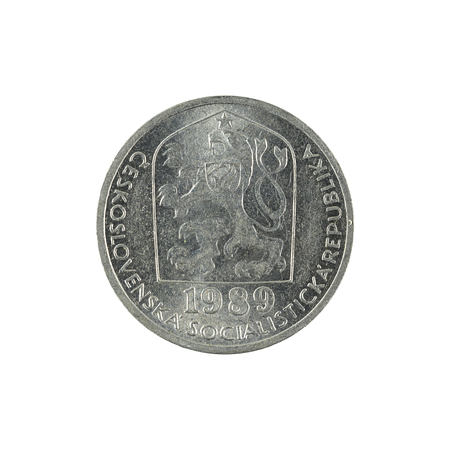 10 czech heller coin (1989) isolated on white background