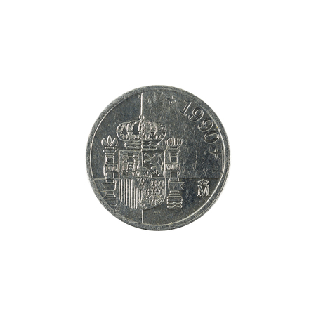 one spanish peseta coin (1990) isolated on white background
