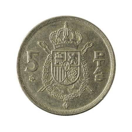 five spanish peseta coin (1975) isolated on white background Stock Photo