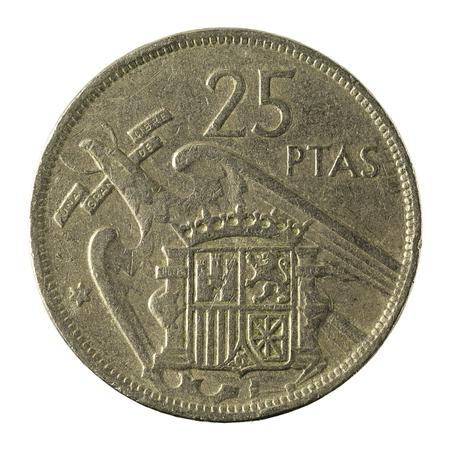 25 spanish peseta coin (1957) isolated on white background
