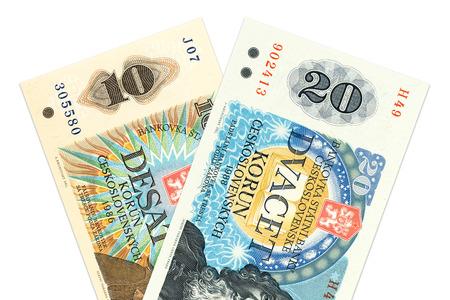 koruna: two czechoslovak koruna bank notes