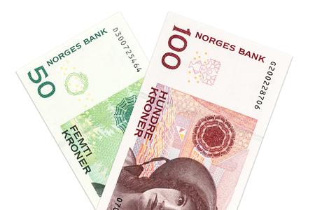 two norwegian krone bank notes