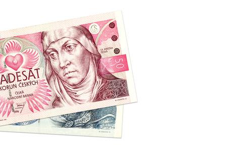 koruna: two czech koruna bank notes Stock Photo