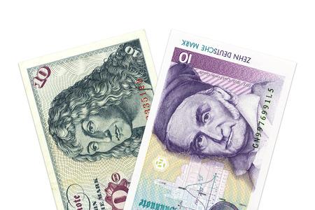 german mark: two 10 german mark bank notes