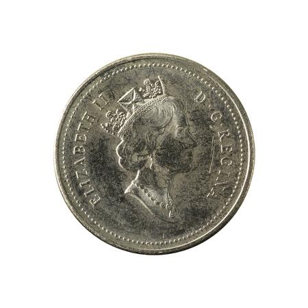 5 캐나다 달러 동전 (1998) 흰색 배경에 고립 된 반전