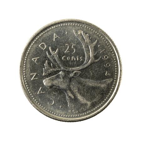 25 캐나다 달러 동전 (1994)도 생 흰색 배경에 고립 된