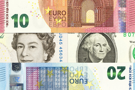 international currencies including euro, british pound sterling, us dollar forming background