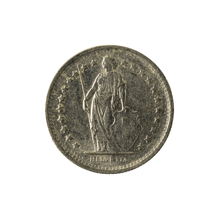 0,5 wiss franc coin (1968) reverse isolated on white background
