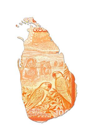 10 sri lankan rupee bank note in shape of sri lanka