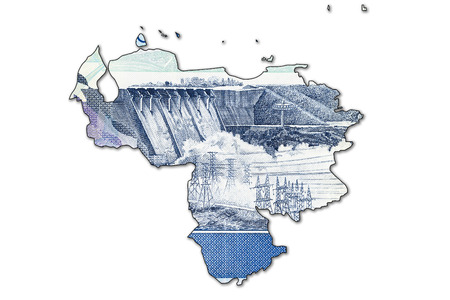 derrumbe: 5000 Bolívar venezolano billete de banco forma de Venezuela