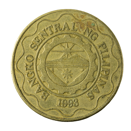 peso: 5 philippine peso coin (1998) reverse isolated on white background