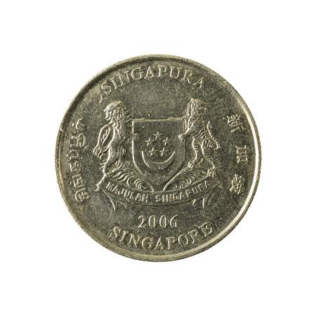 1 Dollar Münze Gegen 5 Singapore Dollar Banknote Vorderseite
