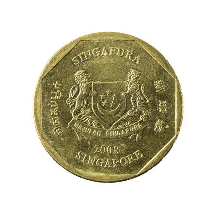 1 Singapur Dollar Münze 2013 Reverse Isoliert Auf Weißem