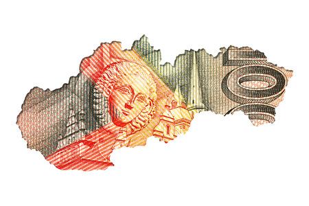 derrumbe: 100 slovak koruna bank note reverse in shape of slovakia
