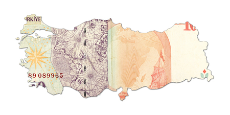 10 turkish lira bank note in shape of turkey
