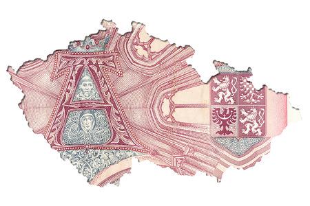 50 czech koruna bank note reverse in shape of czech republic Stock Photo