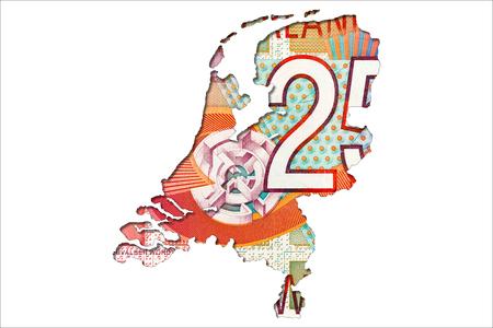 25 dutch guilder note reverse in shape of netherlands
