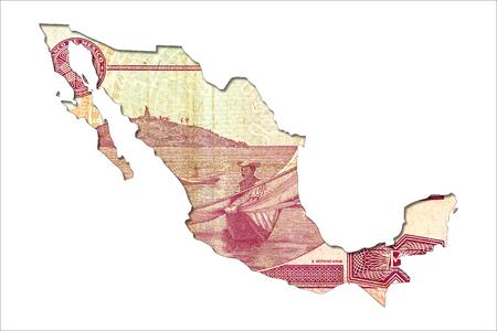 derrumbe: Billete de banco del peso mexicano 50 en forma de mexico