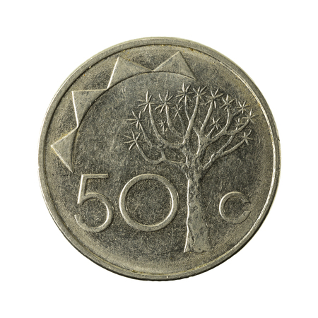 50 namibian cent coin (2008) obverse isolated on white background Stok Fotoğraf