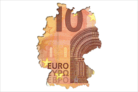 10 euro bank note obverse in shape of germany