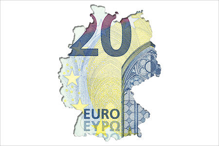 20 euro bank note obverse in shape of germany