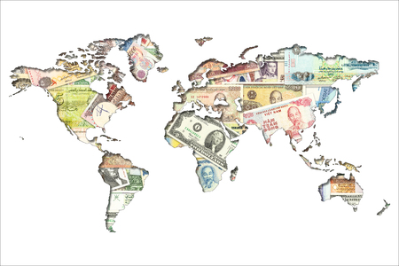 various currency banknotes of the world illustrating world economy in shape of the  world