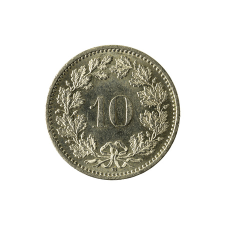 10 swiss rappen coin (2008) obverse isolated on white background