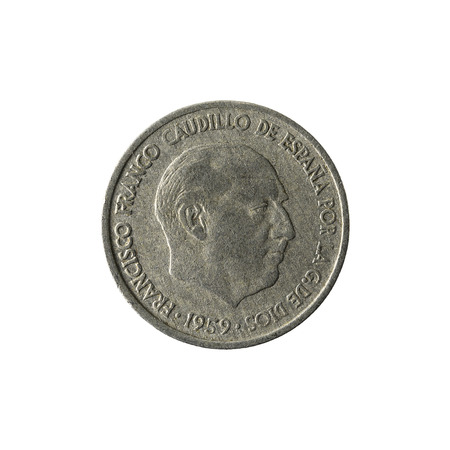 10 spanish centimos coin (1959) reverse isolated on white background