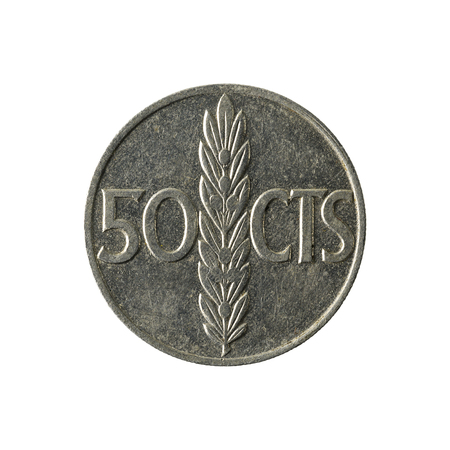 50 spanish centimos coin (1966) obverse isolated on white background
