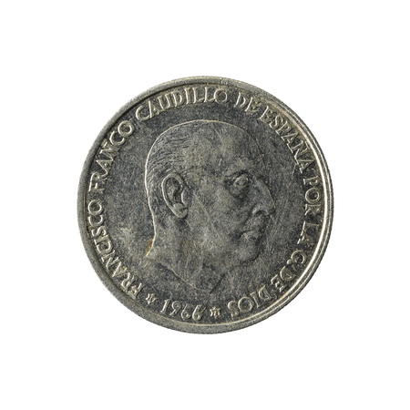 50 spanish centimos coin (1966) reverse isolated on white background