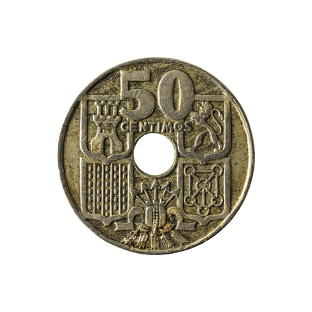 50 spanish centimos coin (1949) obverse isolated on white background