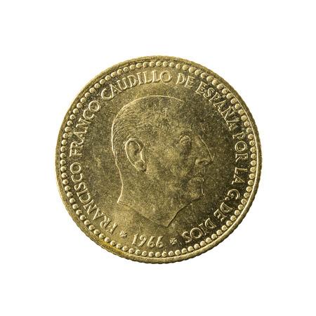 1 spanish peseta coin (1966) reverse isolated on white background Stock Photo