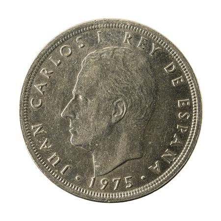 50 spanish peseta coin (1975) reverse isolated on white background