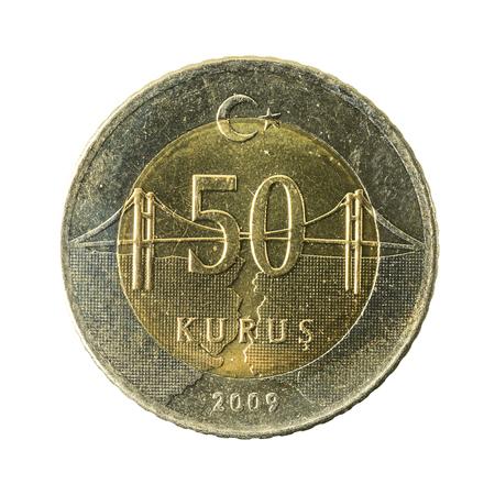 50 turkish kurus coin (2009) obverse isolated on white background