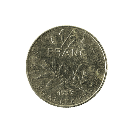 0 to 5: 0,5 french franc coin (1997) obverse isolated on white background Stock Photo