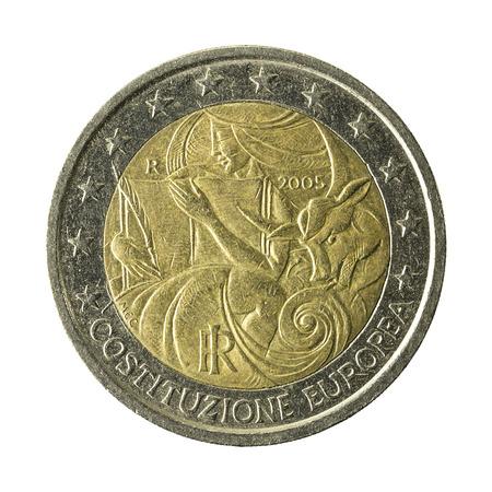 2 Euro Münze Italien World Food Programm Isoliert Auf Weißem