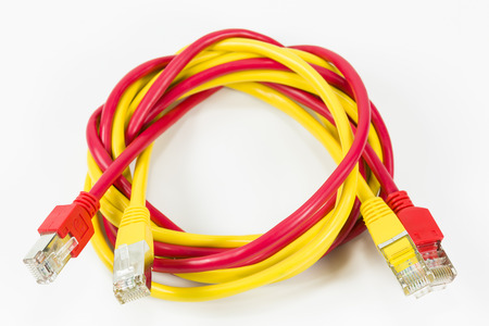 red and yellow patch cables with RJ45 connector