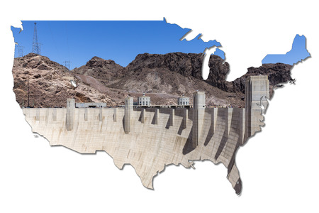 hoover dam: Hoover Dam in shape of the USA