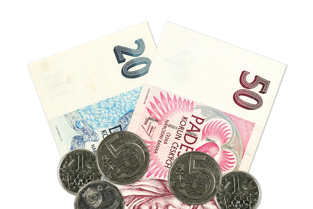 two czech koruna bank notes and coins Stock Photo