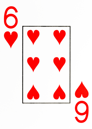 large index playing card 6 of hearts Stock Photo