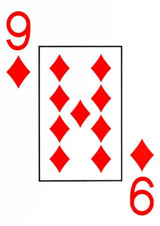 large index playing card 9 of diamonds Stock Photo