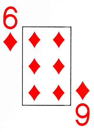 large index playing card 6 of diamonds