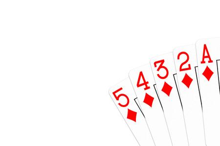 poker hand 5 high straight flush (steel wheel) in diamonds