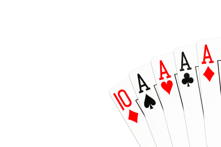 poker hand four of a kind in aces with 10 of diamonds as kicker card