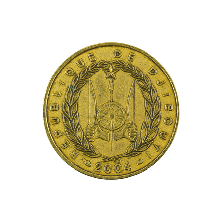 reverse: 10 djiboutian franc coin (2004) reverse isolated on white background