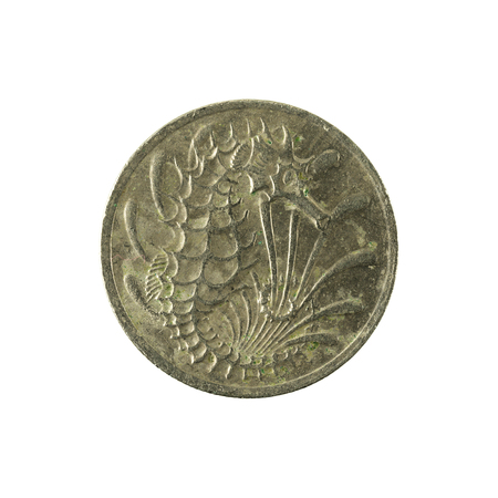 10 singapore cent coin (1981) reverse isolated on white background